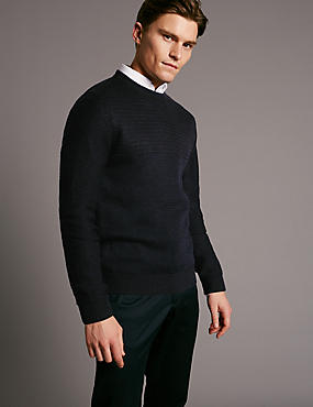 Merino Wool Blend Textured Slim Fit Jumper