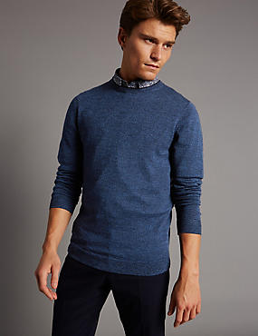 Pure Merino Wool Textured Crew Neck Jumper