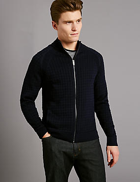 Cotton Blend Checked Slim Fit Jumper