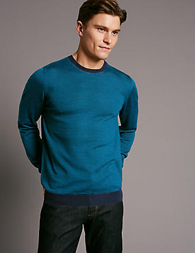 Merino Wool Blend Striped Crew Neck Jumper