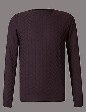 Pure Merino Wool Textured Slim Fit Jumper