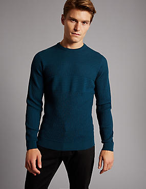 Pure Merino Wool Striped Slim Fit Jumper