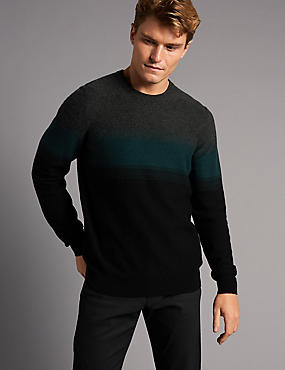 Wool Rich Colour Block Slim Fit Jumper