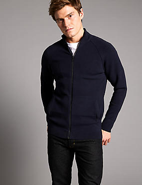 Slim Fit Zipped Through Cardigan