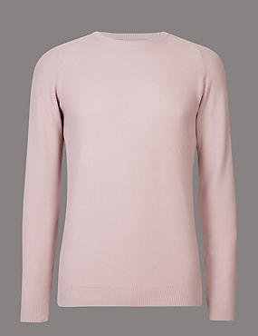 Pure Cotton Textured Slim Fit Jumper, DUSTY PINK, catlanding