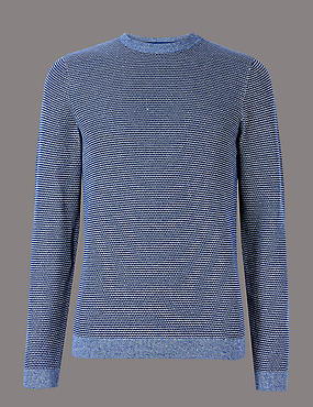 Pure Cotton Textured Slim Fit Jumper, BRIGHT BLUE, catlanding