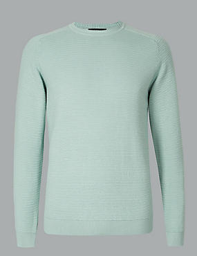 Pure Cotton Textured Jumper, SEA GREEN, catlanding