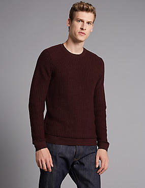 Supima® Cotton Textured Jumper, RAISIN, catlanding