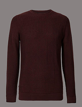 Pure Cotton Textured Crew Neck Jumper, RAISIN, catlanding
