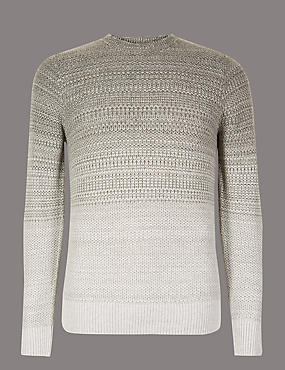 Textured Slim Fit Jumper with Wool, GREY MIX, catlanding