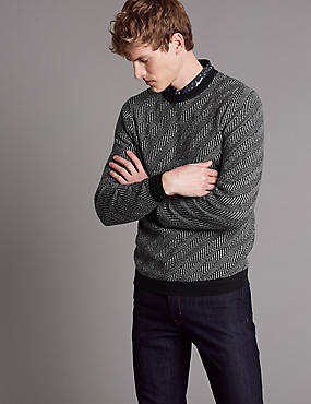 Slim Fit Jumper with Merino and Cashmere, BLACK MIX, catlanding
