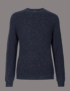 Wool Rich Textured Slim Fit Jumper, NAVY, catlanding