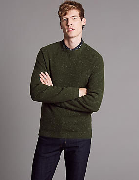 Merino Slim Fit Jumper with Cashmere, KHAKI, catlanding