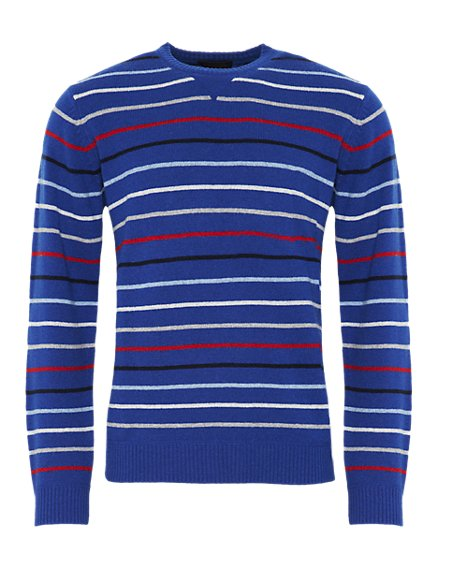 Pure Lambswool Crew Neck Striped Jumper