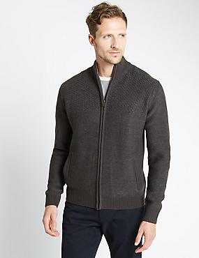 Funnel Neck Zip Through Cardigan