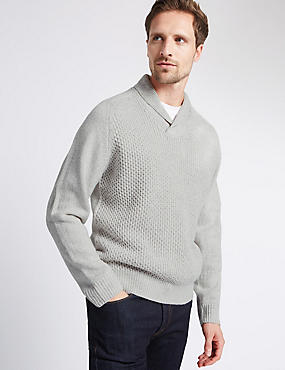 Shawl Neck Long Sleeve Jumper