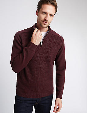 Honeycomb Knit Half Zip Jumper