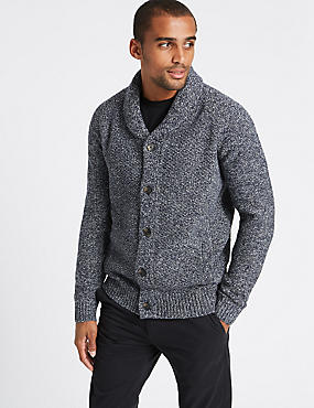 Shawl Neck Textured Cardigan