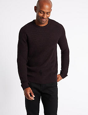 Textured Yoke Crew Neck Jumper