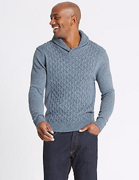 Textured Shawl Neck Jumper