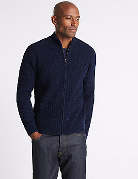 Wool Blend Cable Zipped Through Cardigan