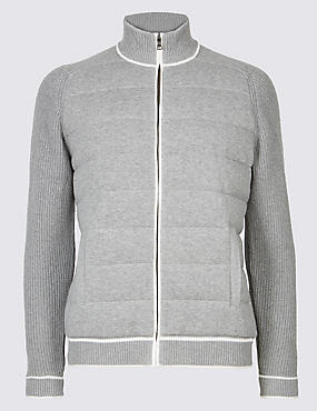 Pure Cotton Textured Zipped Through Cardigan