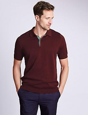 Pure Cotton Short Sleeve Knitted Polo Shirt