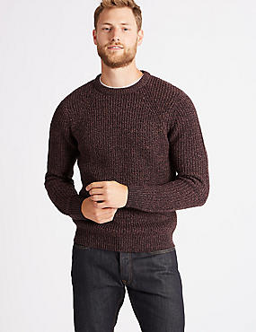 Textured Crew Neck Jumper, BERRY, catlanding
