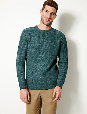 Textured Crew Neck Jumper, PEACOCK, catlanding