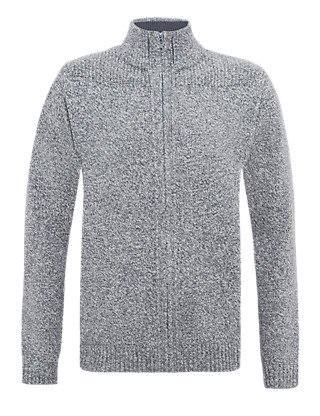 Funnel Neck Zip Through Cardigan Clothing