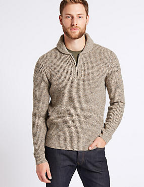 Textured Shawl Zip Neck Jumper , NEUTRAL, catlanding