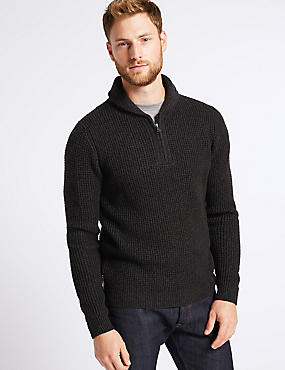 Textured Shawl Zip Neck Jumper , BLACK MIX, catlanding