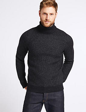 Supersoft Roll Neck Jumper with Wool, NAVY, catlanding