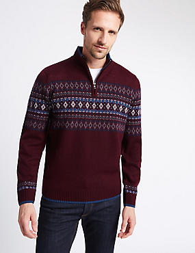 Fairisle Half Zip Jumper with Wool