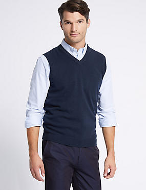 Pure Lambswool Slipover Jumper, NAVY, catlanding