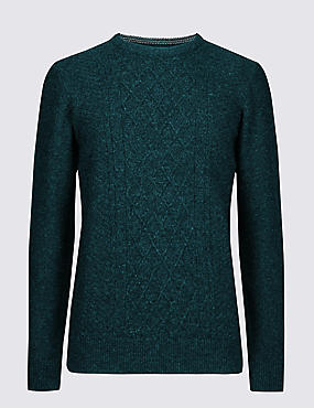 Wool Rich Textured Crew Jumper