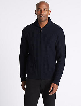Wool Rich Zipped Through Cardigan