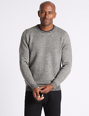 Wool Blend Textured Crew Neck Jumper