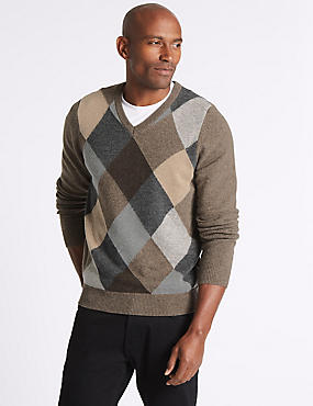 Wool Rich Argyle V-Neck Jumper