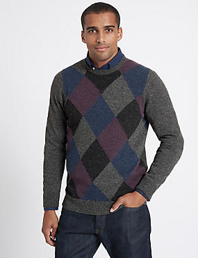 Wool Rich Argyle Crew Neck Jumper