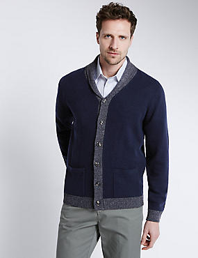 Pure Lambswool Shawl Neck Cardigan