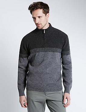 Pure Lambswool Colour Block Jumper