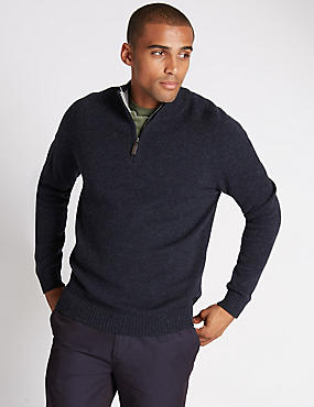 Pure Lambswool Half Zipped Jumper