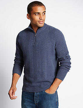 Lambswool Rich Long Sleeve Half Zip Jumper