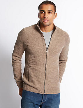 Funnel Neck Textured Cardigan