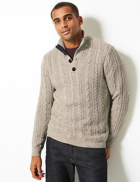 Cable Knit Jumper with Wool, GREY, catlanding