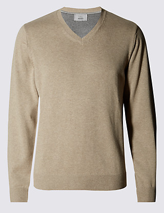 Pure Cotton V-Neck Jumper Clothing