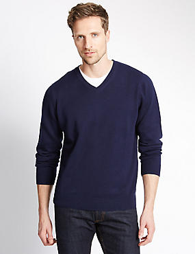 Pure Cotton V-Neck Jumper