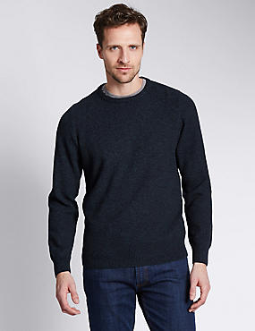 Pure Cotton Crew Neck Textured Jumper