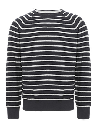 Pure Cotton Reverse Striped Jumper Clothing